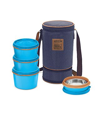 MFT31OR Milton 3+1 Flexi Tiffin Insulated Food Container & Carrier-blue