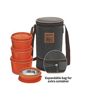 MFT31OR Milton 3+1 Flexi Tiffin Insulated Food Container & Carrier-orange