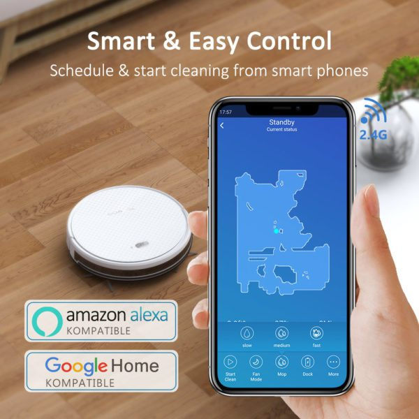 Tesvor X500 Pro Robot Vacuum Cleaner and Mop 1800Pa Strong Suction Self-Charging Wi-Fi Connected – Smart &Easy Control