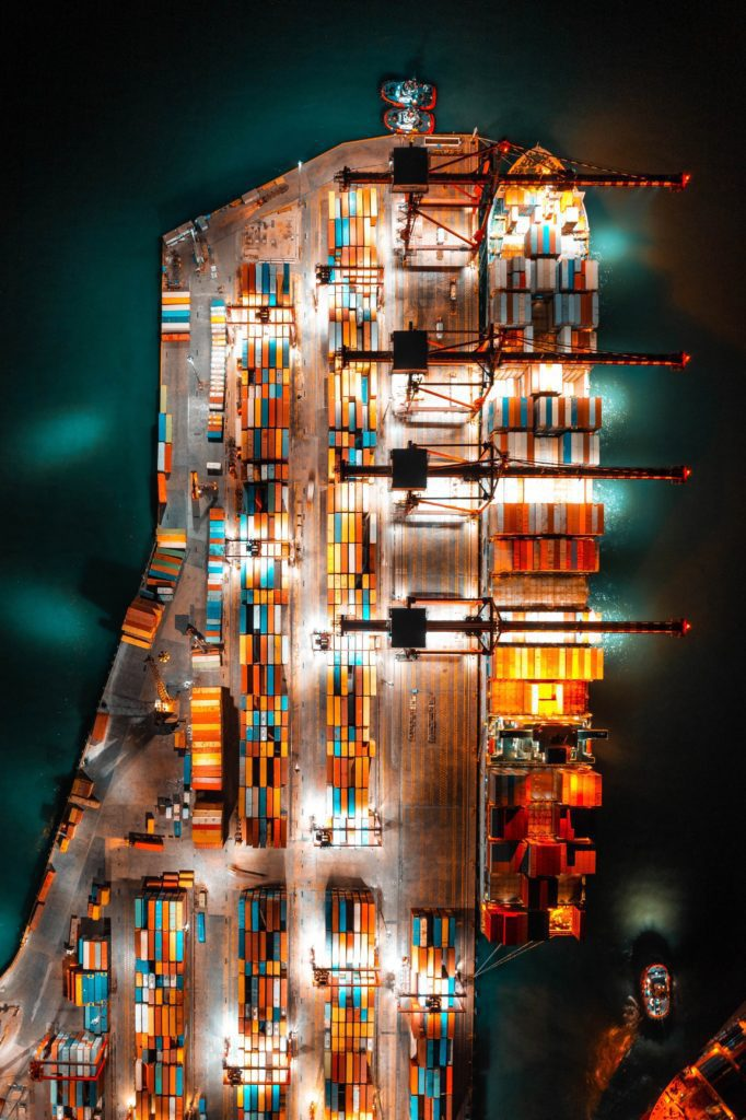 Drone aerial shot of shipping